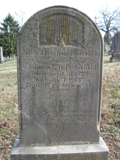 John Marshall Pesterfield's gravestone in Old Gray Cemetery, Knoxville, Tennessee