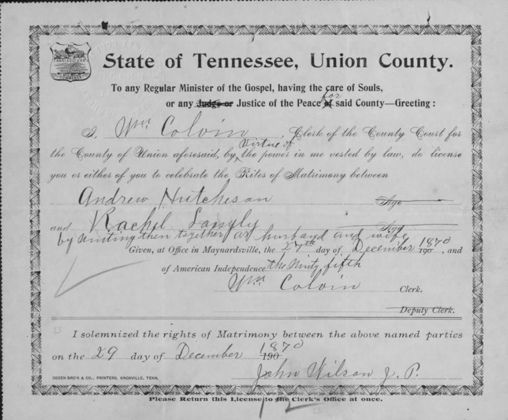 Marriage Certificate of Rachel and Andrew dated 1870.