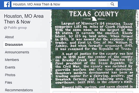 Facebook group focusing on Houston, Missouri history.
