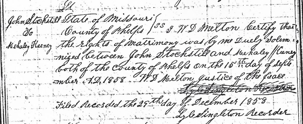 Marriage record of John Stogsdill and Mahala Keeney 1858